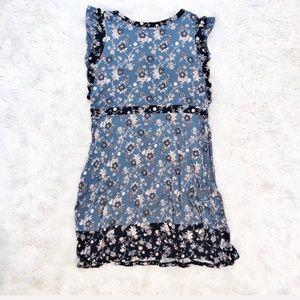 Loft floral print flutter sleeve jersey dress